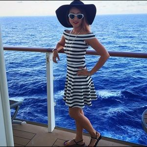 White and black striped, off the shoulder dress